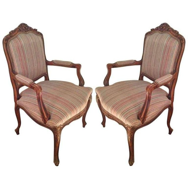 Pair of French Walnut Upholstered Armchairs For Sale - Image 11 of 11