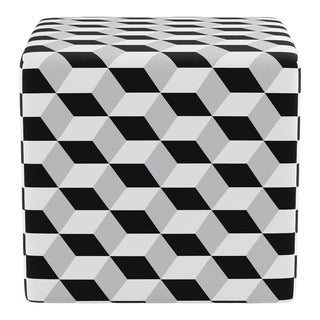 Cube Ottoman in Black Cube For Sale