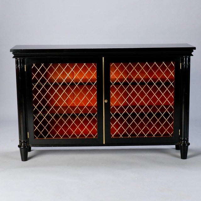 Art Deco Ebonised English Sideboard With Brass Grills For Sale - Image 3 of 10