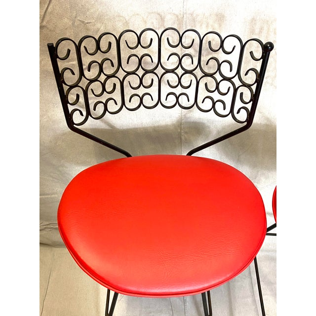 Art Deco Wow Arthur Umanoff for Grenada Collection Iron Swivel Counter Bar Stools W/ Original Red Cushions For Sale - Image 3 of 10