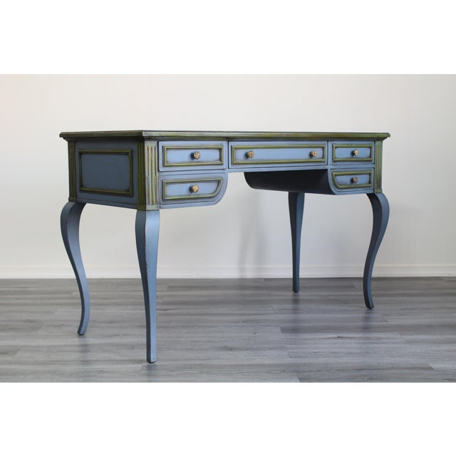 Mid-Century Modern Mid Century Blue Painted Desk For Sale - Image 3 of 10