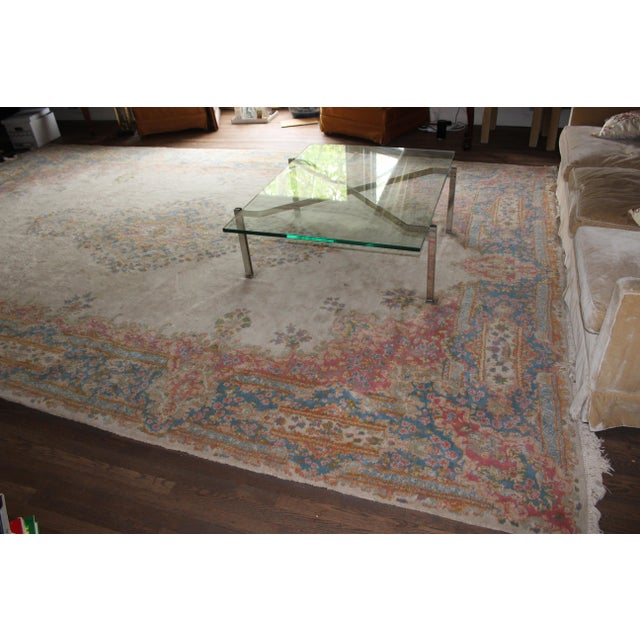 "Traditional Center-Medallion Kerman Persian Wool Rug - 10'5"" X 16'5"" - Image 3 of 3"