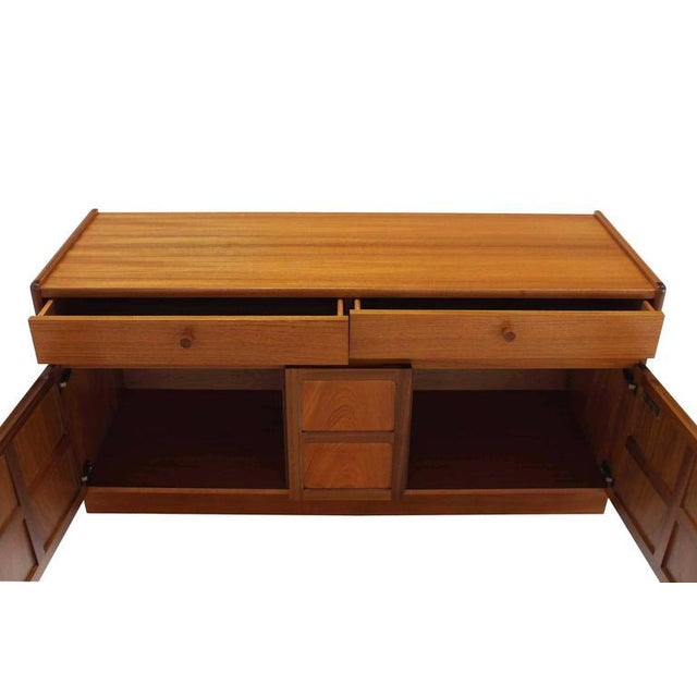 Early 20th Century Small Danish Modern Teak Credenza with Small File Cabinet For Sale - Image 5 of 8