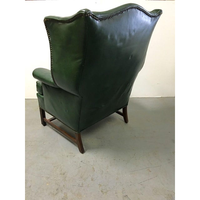 Vintage Green Leather Wingback Chairs - A Pair For Sale In San Francisco - Image 6 of 11