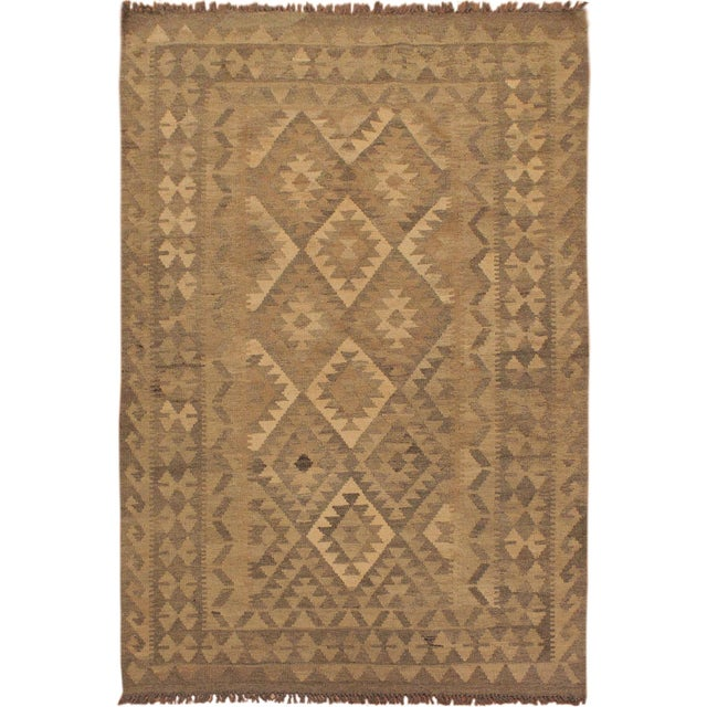 Brown Uriela Gray/Brown Hand-Woven Kilim Wool Rug -4'3 X 5'10 For Sale - Image 8 of 8