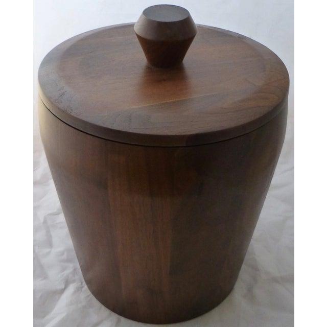 Mid Century Modern Large Walnut Ice Bucket - Image 2 of 7