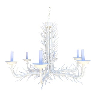 Coastal Regency Faux White Lacquered Coral Six Arm Chandelier For Sale