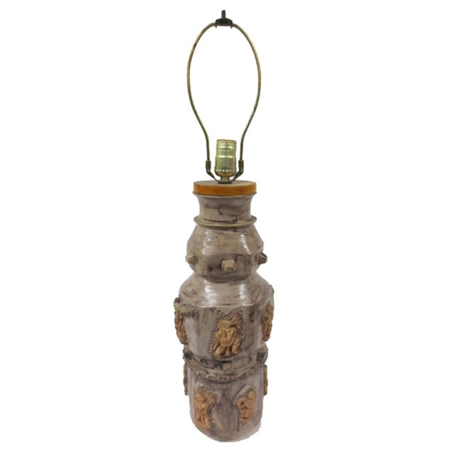 Pottery Lamp with Applied Oriental Figure - Image 1 of 8