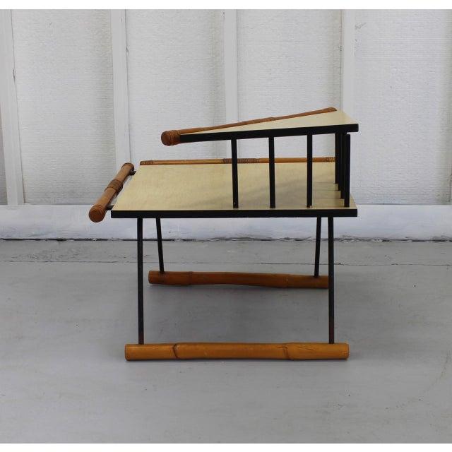 Unique Mid-Mod Rattan & Iron Corner Table 121a For Sale - Image 4 of 5