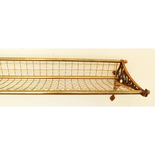 Pullman Vintage Pullman Railroad Brass Luggage Rack For Sale - Image 4 of 4