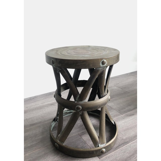 Vintage dark brass drum side table with x detail perfect for your Regency, Boho Chic or internationally styled interior....
