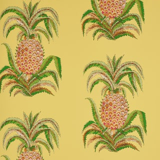 Schumacher Pineapples Wallpaper in Yellow , Sample For Sale