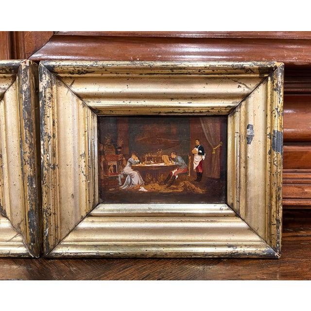 French 19th Century French Oil on Board Paintings in Carved Gilt Frames - a Pair For Sale - Image 3 of 9