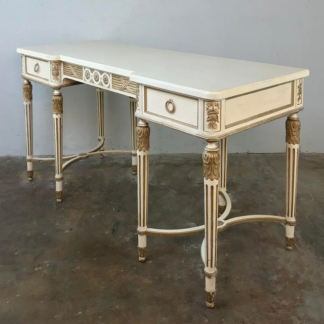 Antique Italian Neoclassical Painted Sofa Table ~ Vanity ~ Writing Desk is a study in the architecture of the ancient...