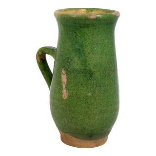 French Green Glazed Terra Cotta Pitcher, Signed & Dated 1948 For Sale
