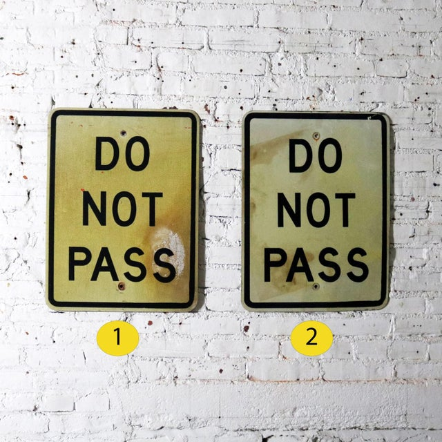 Vintage Do Not Pass Metal Traffic Signs For Sale - Image 9 of 13