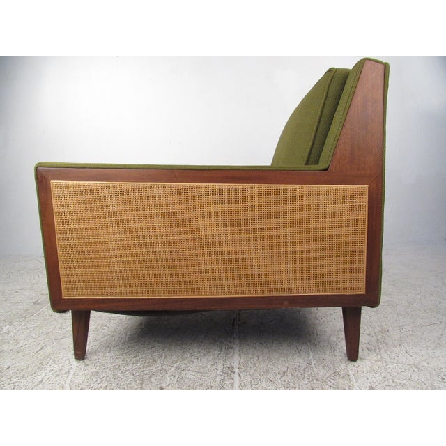Mid-Century Modern Mid-Century Modern Upholstery and Cane Armchair For Sale - Image 3 of 10