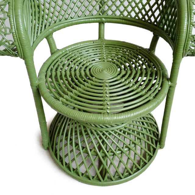 Green Moss Wicker Peacock Chair For Sale In Los Angeles - Image 6 of 8
