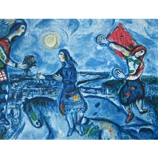 Lovers Over Paris, Limited Edition Offset Lithograph, Marc Chagall For Sale