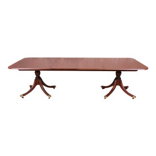 Baker Furniture Historic Charleston Banded Mahogany Double Pedestal Dining Table, Newly Restored For Sale