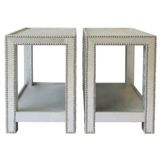 Pair of Silver Snakeskin-Esque End or Nightstand Tables For Sale