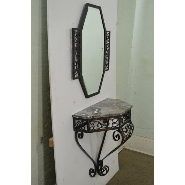 Art Deco Art Deco Oscar Bach Style Iron Marble Top Wall Console w/ Mirror For Sale - Image 3 of 10