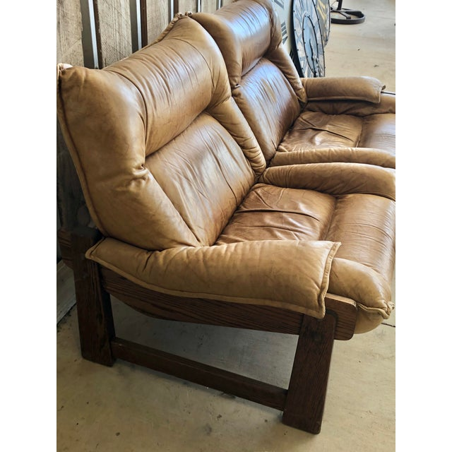 1970s 1970's Swedish Leather Loveseat For Sale - Image 5 of 10