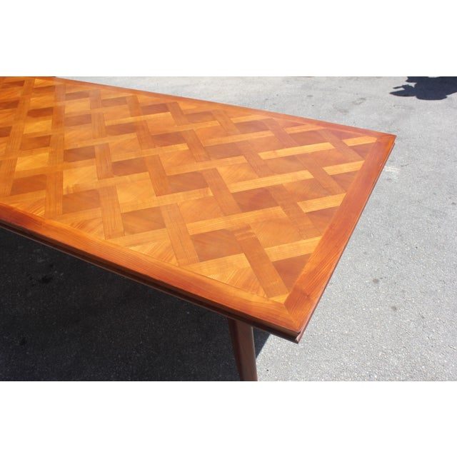 Leon Jallot Master Piece French Art Deco Dining Table Cherry Wood By 1930s For