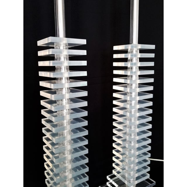 Art Deco Vintage Art Deco Skyscraper Stacked Lucite and Chrome Table Lamps - a Pair - Mid Century Modern Palm Beach Boho Chic For Sale - Image 3 of 12