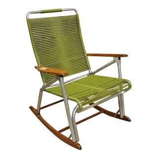 Vintage Folding Telescope Furniture Green Vinyl Strap Rocking Chair Lawn Rocker For Sale