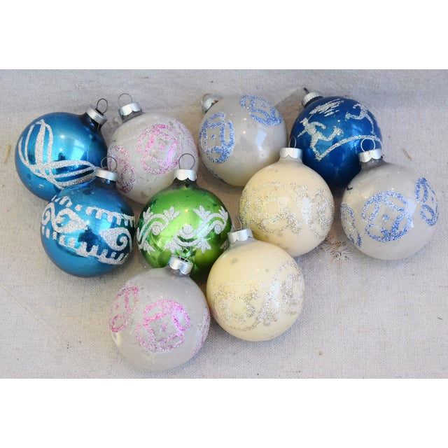 Vintage Colorful Christmas Ornaments W/Box - Set of 10 For Sale - Image 9 of 10