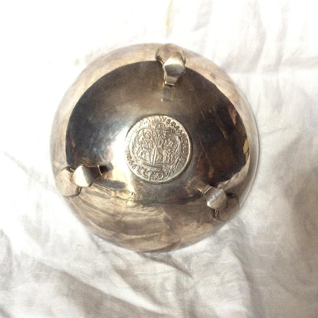 Metal Footed Shreve Sterling Silver Coin Inlay Bowl For Sale - Image 7 of 11
