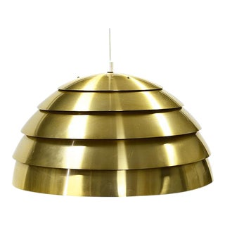 "Sweden 1960s Hans-Agne Jakobsson Brass Coloured Aluminium T 325 ""Lamingo"" Pendant Dome Light"
