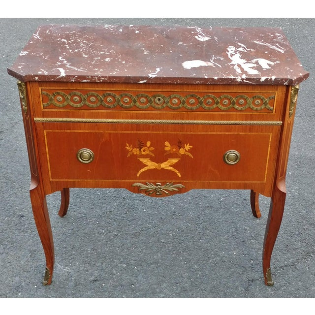 19th Century French Bronze Inlaid Marble Top Commode For Sale - Image 11 of 11