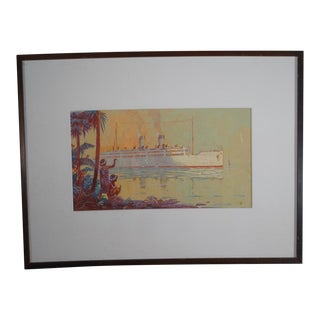 """Early 20th Century """"Cruise Ship in Hawaii"""" Gouache Painting by Thomas Hill McKay, Framed For Sale"""