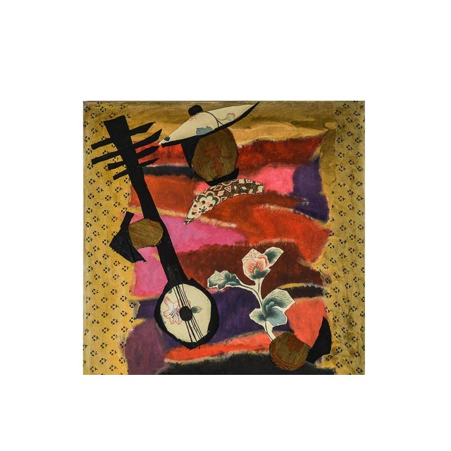 A mixed media on canvas titled Lute Player by Mymy Farmer. The piece features a collage of fabric in a variety of patterns...