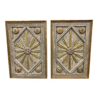 Italian Sunburst Sun Ray Painted Wall Panels - a Pair For Sale