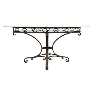 Italian Iron & Marble Table For Sale