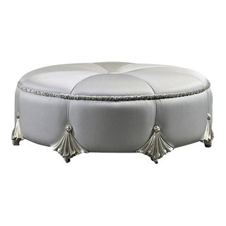 Round Puff Ottoman Silver on Wood For Sale