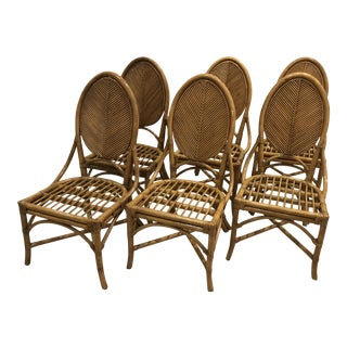 Vintage Bamboo & Rattan Side Chairs - Set of 6