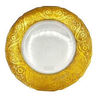 Vintage 50' T&v Limoges Thick Gold Filigree Plate for B. Altman's in Nyc For Sale