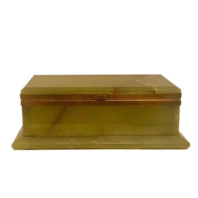 Italian 1940s Large Onyx and Bronze Table Box For Sale - Image 3 of 12
