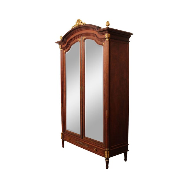 French Louis XV Antique Mahogany Mirror Door Armoire, Bronze For Sale - Image 13 of 13