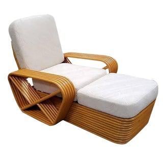 Paul Frankl Style Pretzel Rattan Chaise Lounge For Sale