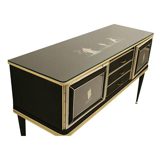 Asian Italian 1950's Chinoiserie Decorated Sideboard, by Umberto Mascagni For Sale - Image 3 of 5