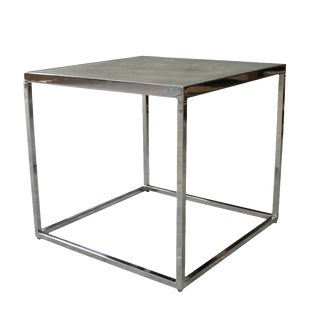 Modern Costantini Jesse Polished Steel and Concrete Side Table For Sale