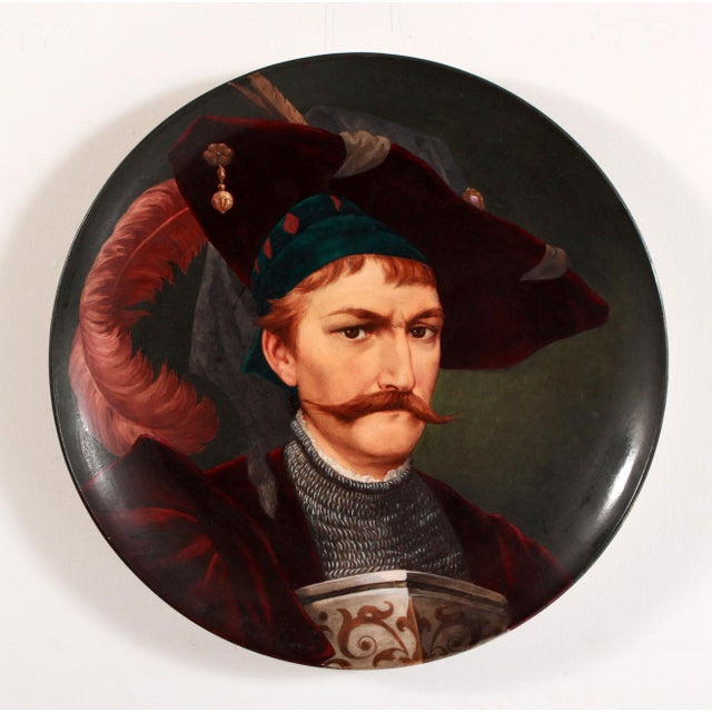 19th Century European Portrait Hand Painted Porcelain Wall Charger For Sale - Image 12 of 12