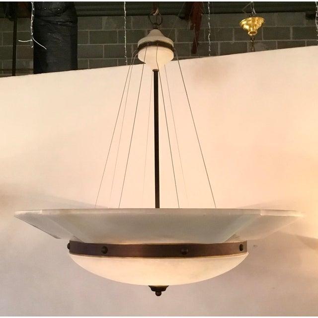Original Retail $9560. Elegant Myran Allen Luxury Lighting White Alabaster Pendant Light, Matt bronze accents, wire...