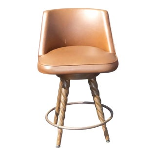 Vintage Spanish Style Brown Vinyl Bar Stool For Sale