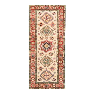 """Apadana - Transitional White and Red Indian Tabriz-Style Runner, 2' X 5'10"""" For Sale"""